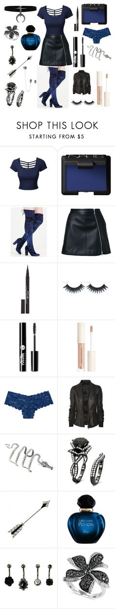 """blue babe"" by samie-greek ❤ liked on Polyvore featuring LE3NO, NARS Cosmetics, Guild Prime, Stila, Charlotte Russe, H&M, Victoria's Secret, Rick Owens, Cartier and Christian Dior"