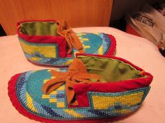 Native American Full Bead Hide Childs Moccasins Beads Multi Color 61 2 Inch | eBay
