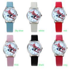ot02 Spider Cartoon Watch Children Kids Wristwatch Boys Clock Child Gift Leather Wrist Watch Quartz Cartoon-watch Quartz-watch