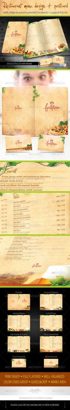 Italian Restaurant Bi-fold booklet menu templates #menu