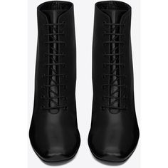 Saint Laurent Babies 90 Lace-up Ankle Boot (6.428.165 IDR) ❤ liked on Polyvore featuring shoes, boots, ankle booties, ankle boots, heels, saint laurent, heeled boots, short lace up boots, short boots and lace up heel booties