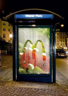McDonald's Freshness Box Salad - Clever poster, with what appears to be fresh salad vegetables, changed a bus shelter into a section in the refrigerator.