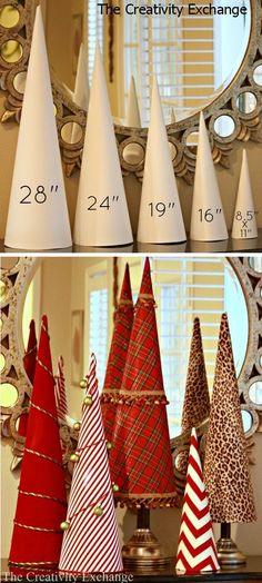 template for 5 sizes of craft cones that are used to make sturdy cones out of rolled poster board