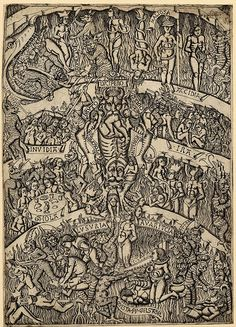 """paysagemauvais: """" Ilustration for Dante's 'Inferno', Engraving. Full: Front Dante's 'Inferno'; in the centre Lucifer torturing several damned souls, some of whom are named. Dante Alighieri, Demon Art, Medieval Art, Renaissance Art, Jugendstil Design, Dantes Inferno, Arte Obscura, Danse Macabre, Heaven And Hell"""