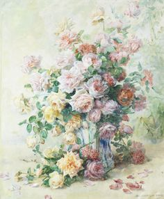 Madeleine Jeanne Lemaire - - A still life of roses♥ Art Floral, Flower Vases, Flower Art, Art Flowers, Gif Animé, Watercolor Flowers, Painting Flowers, Flower Paintings, French Artists