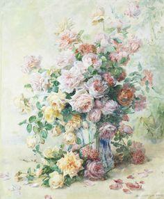 Madeleine Jeanne Lemaire - - A still life of roses♥ Art Floral, Flower Vases, Flower Art, Art Flowers, Gif Animé, French Artists, Vintage Roses, Watercolor Flowers, Still Life