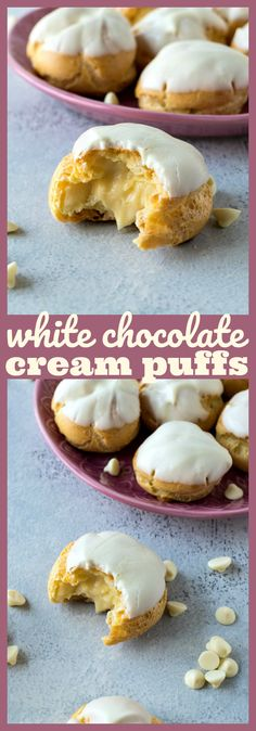 White Chocolate Cream Puffs – Light and airy puffs are filled with homemade white chocolate pastry cream and finished with a dip in melted white chocolate. #dessert #whitechocolate #newyearseve #recipe #creampuff