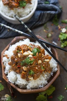 Easy slow Cooker Thai Peanut Chicken is a savory and flavorful chicken ...