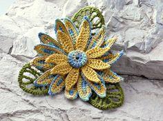 Crochet Brooch Fiber Brooch Irish Crochet Pin di Nothingbutstring