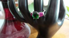 Emerald and Ruby Sterling Silver ring, Size 7.5