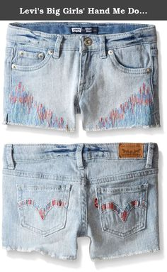 Levi's Big Girls' Hand Me Down Denim Shorty Short, Ultra Light, 8. An elastic waistband and soft, stretchy denim ensures that you and she both will love these shorts, with their vintage look, detailed embroidery and super comfy fit.