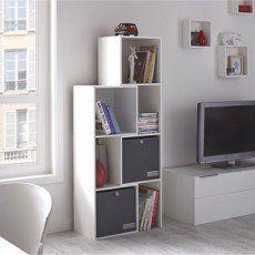 Etagère 7 cases MULTIKAZ, blanc H.141 x l.36 x P.31.7 cm