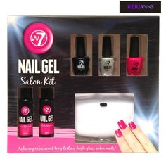 W7 Nail Gel Salon Kit has everything you need to achieve professional and long lasting nails with a high gloss finish.  Contains:  1 x LED Nail Lamp 1 x 8ml 2 In 1 Base/Top Coat 2 x 8ml Nail Gel Polishes 1 x 30ml Gel Nail Polish Remover 1 x 30ml Euro Cleanser 2 x Foil Remover Wraps 1 x Nail File 2 x Nail Sticks  Requires 4 x AA Batteries (Not Included)