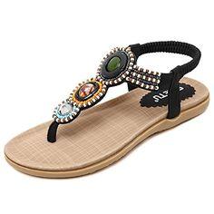 3215d33ae Hattie Women s Bohemian Beaded Elastic Sandals Summer Beach Rhinestone  Embellishment Flats Apricot