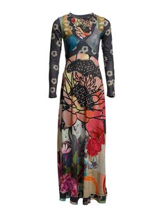 VEST_VALENTINES - Desigual's empire maxi dress is outfitted for the charismatic soul with incredible floral-themed patterns in all colours of the spectrum. *V-neckline *Empire line *Long sleeves *Layered hem