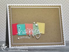 The little rectangles are from the Pretty Pink Posh tag.  The sentiment is from Simon Says.  The bigger dies are Mama Elephant.