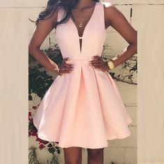 Find More Cocktail Dresses Information about Lovely Pink Deep V Neck Cocktail  Dresses Sleeveless vestidos coctel 892e7d735b89