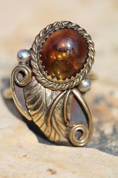 VINTAGE SOUTHWESTERN TRIBAL 12K GF & STERLING SILVER FIRE AGATE RING SIGNED PA