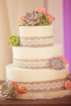 rustic wedding cake with burlap and succulent / http://www.deerpearlflowers.com/rustic-country-burlap-wedding-cakes/