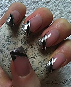 silver and black french tip manicure. fingernails acrylic