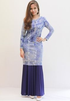 Sweetheart Jameela Baju Kurung (Blue) from Sweetheart in Blue Contemporary baju kurung from Sweetheart Fashion suitable for every day wear to special events. Featuring gem and beads detail decorating the sleeves, neckline and hem. Kurung top - Printed velvet - Completed with bead and gem embellishments. - R... #bajukurung #bajukurungmoden