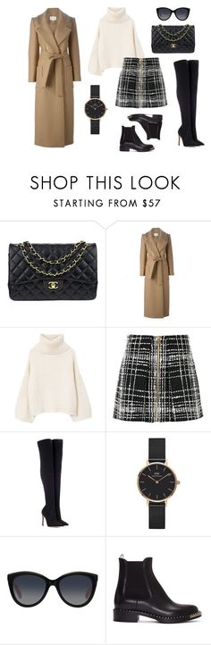 """Skirt and sweater set"" by cherkasova-kristina on Polyvore featuring мода, Chanel, Carven, MANGO, Balmain, Gianvito Rossi, Daniel Wellington, Dolce&Gabbana и Miu Miu"