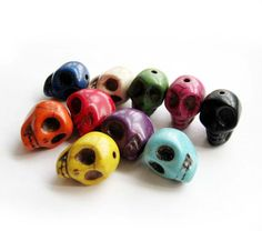 10Pcs MultiColor Turquoise Carved Skull Head Beads by 8giftshop, $0.99
