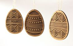 Easter Tree Ornaments - Wooden Easter Egg Ornaments by Tri~Elegance. #trielegance