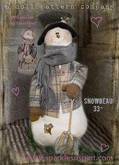 "Snowman Pattern: Snowbeau - 33"" Doll Pattern & Accessory Pak or Set by Sparkles n Spirit"