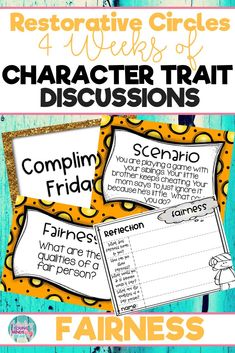 Conduct restorative and community circles in your classroom with these ready to use templates that are full of questions, discussion topics and ideas that can be used during circle time. This product stems around the character trait of fairness and includes discussion questions, scenarios and/or act it out activities. Click the link below to have your students listening, discussing and learning from each other! #restorativecircles #charactertraits #circletime #charactereducation
