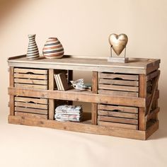 Sideboard that looks like it is made from apple crates