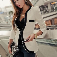 TS Slim Blazer with Piping Detail  – USD $ 31.49