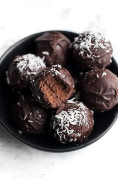No Bake Brownie Batter Truffles that taste and feel just like a batch of soft-baked brownies but are made with NO flour, oil, eggs, or refined sugar!
