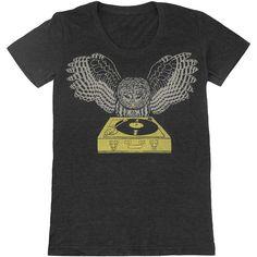 Dj Owl Womens T-Shirt Girls Tee Shirt Turntable Music Bird Retro... ($26) ❤ liked on Polyvore featuring tops, t-shirts, grey, women's clothing, babydoll tops, scoop neck top, scoopneck tee, retro t shirts and bird t shirts