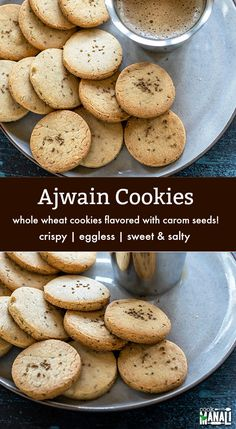 Recipes Snacks Salty Whole Wheat Cookies flavored with ajwain (carom seeds)! These sweet and salty crispy cookies are eggless and go well with chai or coffee! Salt Cookies Recipe, No Flour Cookies, Biscuit Recipe, Crispy Cookies, Cake Cookies, Pastry Recipe, Biscuit Cookies, Eggless Cookie Recipes, Eggless Baking