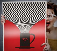 Twin Peaks poster print 18x24, David Lynch inspired with Twin Peaks chevron patter and Twin Peaks Symbol on a Coffee mug.