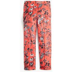 J.Crew Collection Cropped Pant ($465) ❤ liked on Polyvore featuring pants, capris, lined pants, red crop pants, silk pants, wide-leg trousers and cropped trousers