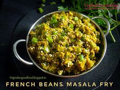 How to make French Beans Masala Fry Fried Fish Recipes, Veg Recipes, Curry Recipes, Indian Food Recipes, Vegetarian Recipes, Ethnic Recipes, Recipies, French Beans Recipe Indian, Spicy Green Beans