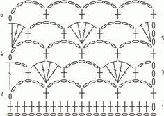 Схема вязания узора Ракушка в сетке