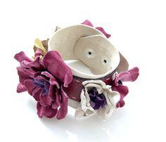 Boho leather floral cuff by ModaMakovera on Etsy, $46.00