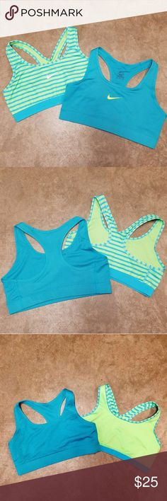 Nike Dri-Fit Sports Bras Two medium sized Nike dri-fit sports bras. High impact, worn handful of times. These are not reversible, third picture just to show inside of sports bras. Striped bra has defect of left backside, my fingernail caught it and caused a snag. Turquoise bra in excellent used condition~ Nike Intimates & Sleepwear Bras