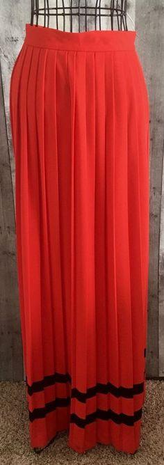 Vintage 1960s Miss Marilyn Dallas Pleated Maxi Skirt Orange Red Black Size 14 #MissMarilynofDallas #Pleated