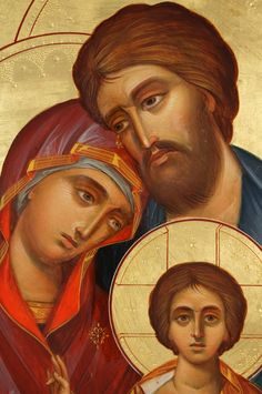 The Holy Family Hand-Painted Icon - BlessedMart Blessed Family, Blessed Mother, Religious Images, Religious Icons, Jesus E Maria, Paint Icon, Pictures Of Christ, Religious Paintings, Madonna And Child