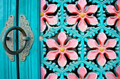 Gorgeous turquoise door with ornaments ~ Korean Architecture by KelSquire.
