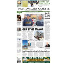 The front page of the Taunton Daily Gazette for Saturday, Nov. 22, 2014.