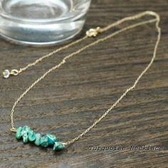 小粒なトルコ石がたくさん並んだゴールドチェーンネックレス http://item.rakuten.co.jp/auc-yukatan/92-0308/