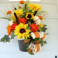 Wall Pockets Fall Wreaths Home Decor by JulieButlerCreations Sunflower Floral Arrangements, Sunflower Centerpieces, Fall Arrangements, Cemetery Flowers, Table Flowers, Wall Pockets, French Country Decorating, Baskets On Wall, Fall Wreaths