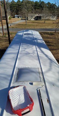 ElastoKool roof coating on skoolie