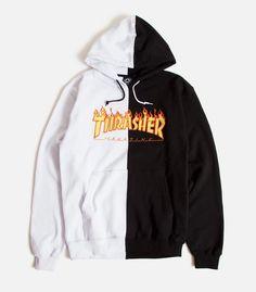 THRASHER Flame Hooded Sweatshirt Greymottled  XL