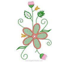 Embroidery Design Flowers with Green Leaves - Embroidery Designs Flower Embroidery Designs, Types Of Embroidery, Flower Designs, Machine Embroidery, Janome, Basic Colors, Embroidered Flowers, Green Leaves, Stitch